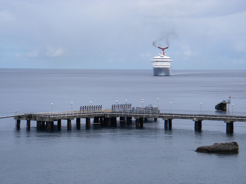 Cruise Ship Arriving at Roseau
